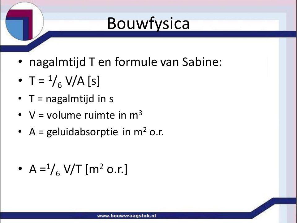 Bouwfysica nagalmtijd T en formule van Sabine: T = 1/6 V/A [s]
